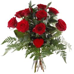 Bukiet 9 róż z sercem